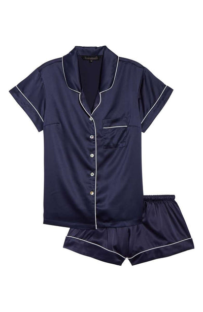 Short Pyjama Piping Set - Navy - Homebodii