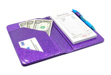 Load image into Gallery viewer, Potion Purple Server Book with Sparkle Glitter Order Pad Holder Check Presenter