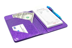 Potion Purple Server Book with Sparkle Glitter Order Pad Holder Check Presenter