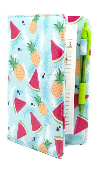 Server Books featuring Pineapples and Watermelon - Cute Server Book for Waitresses