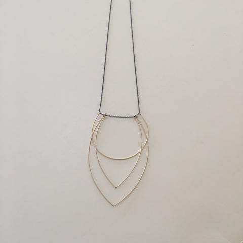 Geometric Necklace- Gold + Oxidized Silver