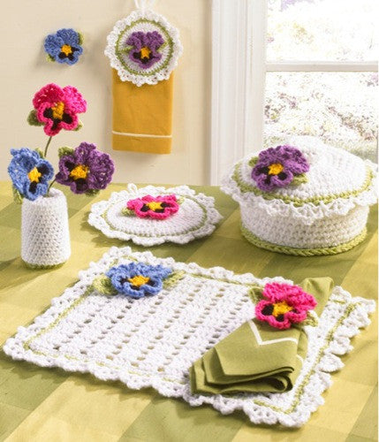 pansy kitchen set casserole cover potholder placemat towel topper vase with flowers napkin ring