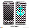 The Black & White Chevron Pattern with Teal Anchor v2 Skin for the iPhone 5-5s nüüd LifeProof Case