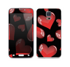 The Glossy Red 3D Love Hearts on Black Skin For the Samsung Galaxy S5