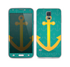 The Gold Stretched Anchor with Green Background Skin For the Samsung Galaxy S5