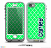 The Navy Blue Name Script Lime Green Morocan Pattern Skin for the iPhone 5-5s nüüd LifeProof Case