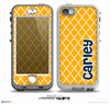 The Navy Blue Name Script Orange Morocan Pattern Skin for the iPhone 5-5s nüüd LifeProof Case