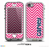 The Navy Blue Name Script & Pink Sharp Chevron Pattern Skin for the iPhone 5-5s nüüd LifeProof Case
