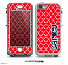 The Navy Blue Name Script Red Morocan Pattern Skin for the iPhone 5-5s nüüd LifeProof Case
