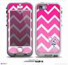 The Navy Blue Name Script V2 & Pink - White Ombré V3 Chevron Pattern Skin for the iPhone 5-5s nüüd LifeProof Case