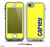 The Navy Blue Name Script Yellow Morocan Pattern Skin for the iPhone 5-5s nüüd LifeProof Case