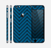 The Royal Blue & Black Sketch Chevron Skin for the Apple iPhone 6 Plus