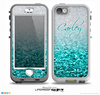 The Aqua Blue & Silver Glimmer Fade Name Script V2 Skin for the iPhone 5-5s nüüd LifeProof Case