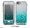 The Aqua Blue & Silver Glimmer Fade Skin for the iPhone 5-5s nüüd LifeProof Case
