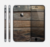 The Uneven Dark Wooden Planks Skin for the Apple iPhone 6