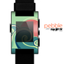 The Vector Retro Green Waves Skin for the Pebble SmartWatch
