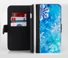 The Winter Abstract Blue Ink-Fuzed Leather Folding Wallet Credit-Card Case for the Apple iPhone 6/6s, 6/6s Plus, 5/5s and 5c