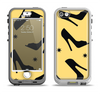 The Yellow & Black High-Heel Pattern V12 Apple iPhone 5-5s LifeProof Nuud Case Skin Set