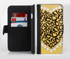 The Yellow Heart Shaped Leopard Ink-Fuzed Leather Folding Wallet Credit-Card Case for the Apple iPhone 6/6s, 6/6s Plus, 5/5s and 5c