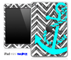 Sketch White Chevron and Turquoise Anchor Skin for the iPad Mini or Other iPad Versions