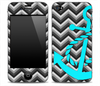 Black and Gray Chevron With Turquoise Anchor V3 Skin for the iPhone 3gs, 4/4s or 5