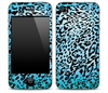 Hot Turquoise Vector Leopard Animal Print Skin for the iPhone 3gs, 4/4s, 5, 5s or 5c