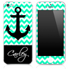 Custom Name Script on Light Trendy Green/White Chevron and Anchor Skin for the iPhone 3gs, 4/4s, 5, 5s or 5c