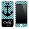 Custom Name Script on Light Blue/Black Chevron and Anchor Skin for the iPhone 3gs, 4/4s, 5, 5s or 5c