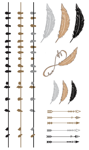 Birds and Feathers, Gold, Silver and Black