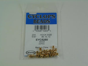 package of gold colored beads used for adding weight and shine to fishing flies