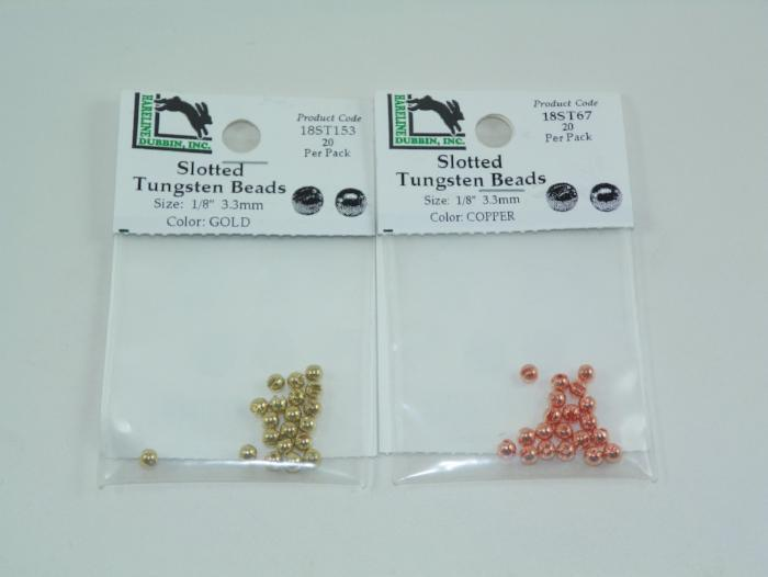slotted tungsten beads from Rangeley Maine fly fishing shop