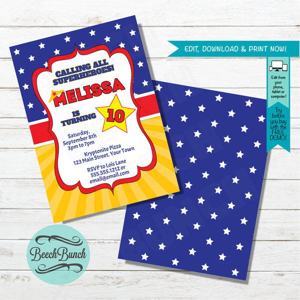 Superhero Birthday Invitation #012