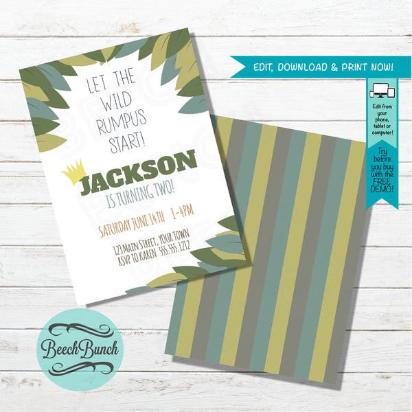 Wild Things Inspired Birthday Invitation #016