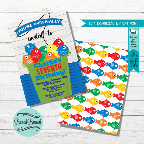 Fishing Themed O-Fish-ally Birthday Invitation #010