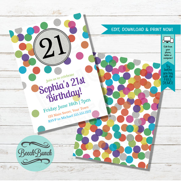 Sparkle Confetti Birthday Invitation #018