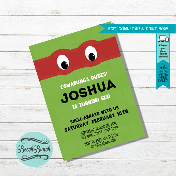 Turtle Inspired Birthday Invitation #019