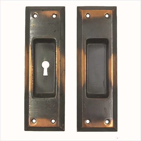 Copper Flash Japanned Pocket Door Pulls