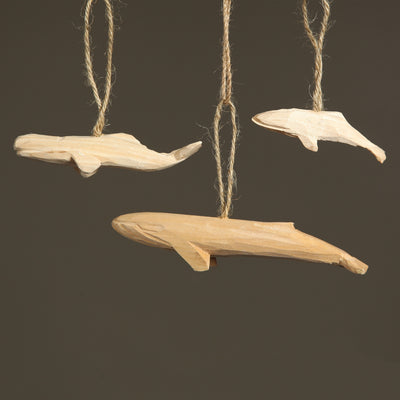 Carved Wood Sperm Whale Ornament