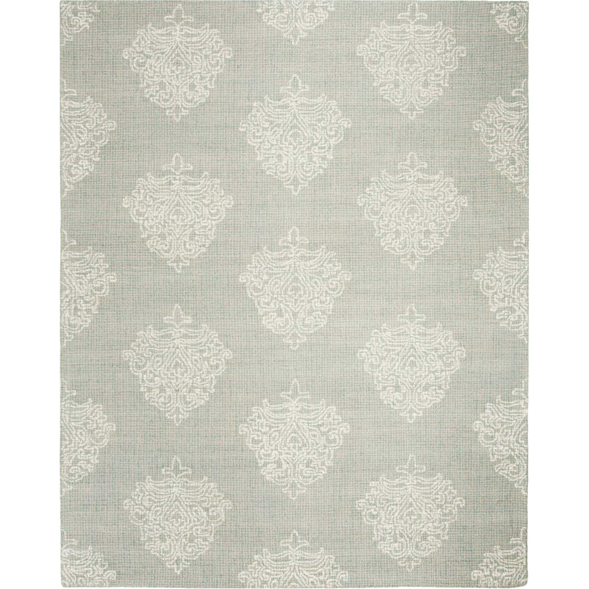 Abstract Aqua/Ivory Area Rug