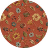 Blue Garden Party Navajo Red/Marigold Round Rug