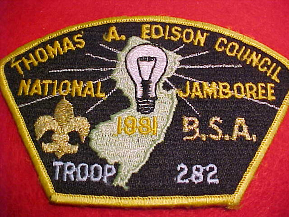 1981 THOMAS A EDISON, TROOP 282, YELLOW BORDER, SOLID EMBROIDERED