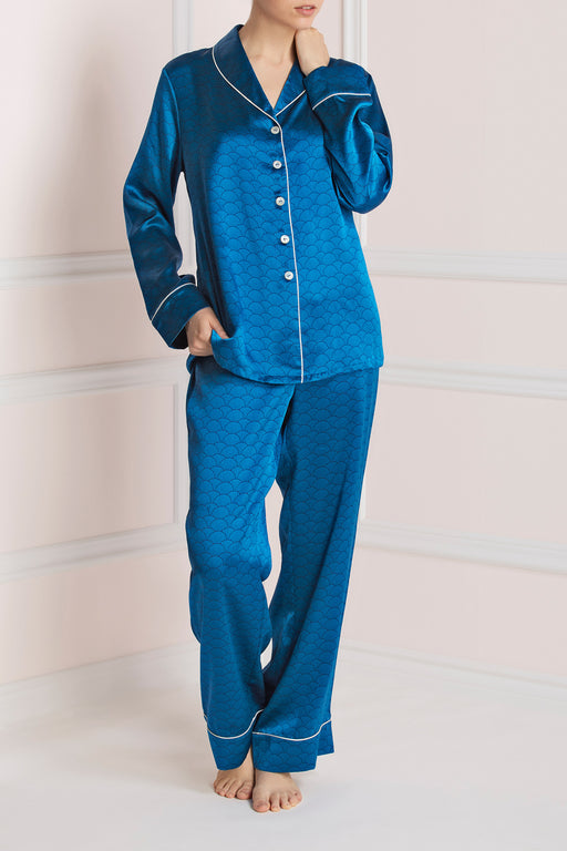 Lila Calandra pyjama by Olivia Von Halle blue silk satin workingirls lingerie