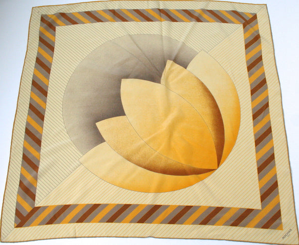 Rochas golden yellow graphic print silk scarf