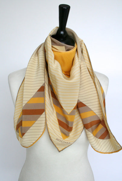 Rochas golden yellow graphic print silk scarf - Large
