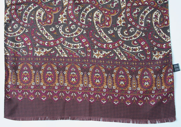 80s paisley print long vintage silk scarf - M/Long