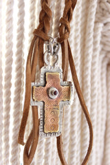 leather braided necklace with bronze and silver cross ruby stone accent