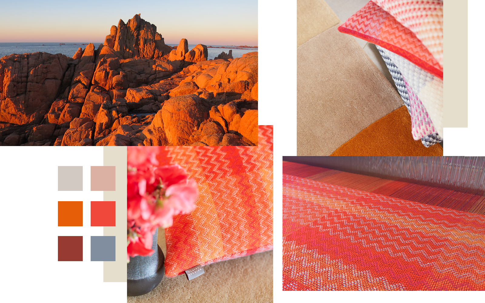 Claire Gaudion Artisan Textile Design | Sunset Reds Colour Story