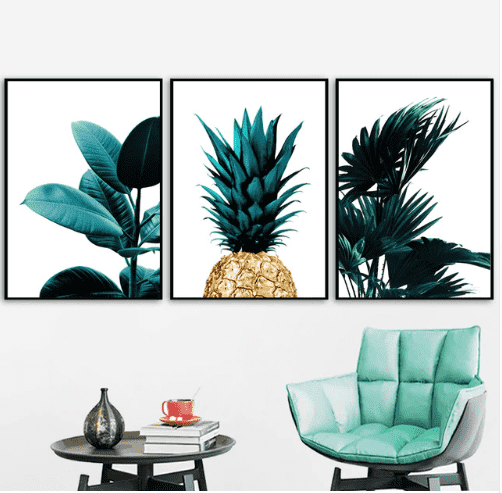 3 PCS Green Palm Leaves Gold Pineapple