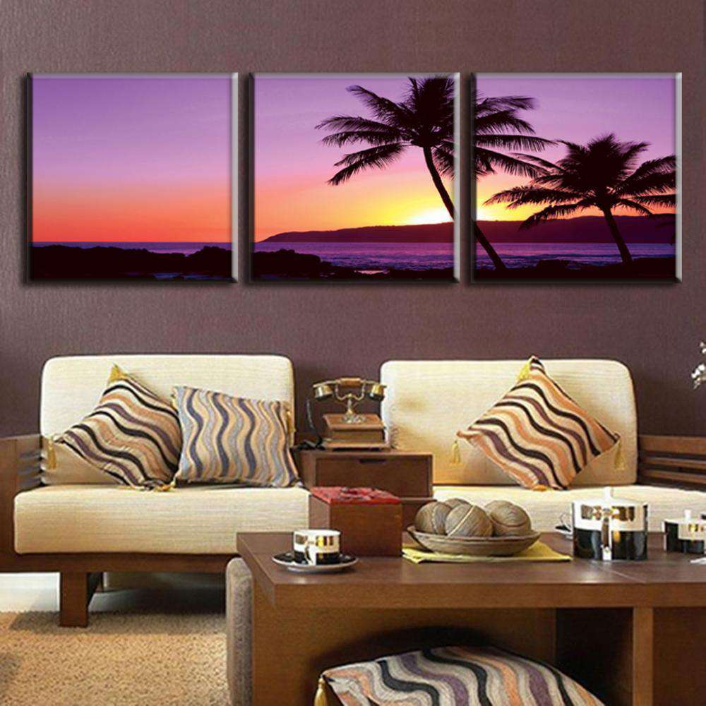 3 Pcs/SeT Modern Purple Seascape - Artisary