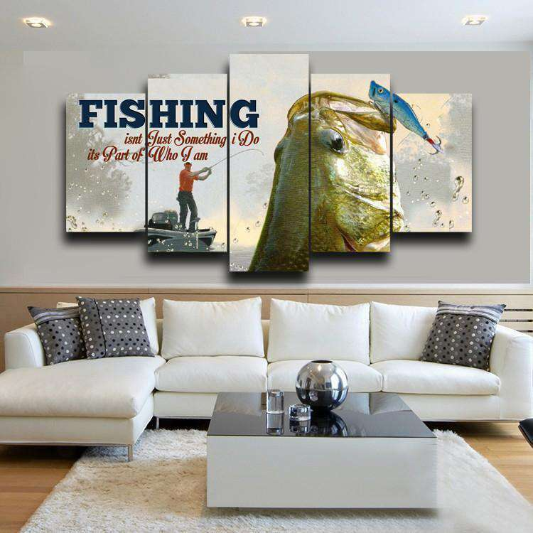 FISHING 5 PIECE CANVAS WALL ART - Artisary
